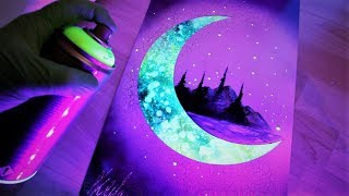 Behind the Moon - GLOW IN THE DARK - SPRAY PAINT ART by Skech