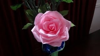How to make tissue paper rose flower with wrapping method / Valentine