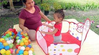 Mainan Anak Balita Kolam Basket Mandi Bola - baby learning  colors balls