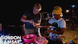 Gordon Ramsay Fishes & Cooks Squid | Gordon's Great Escape