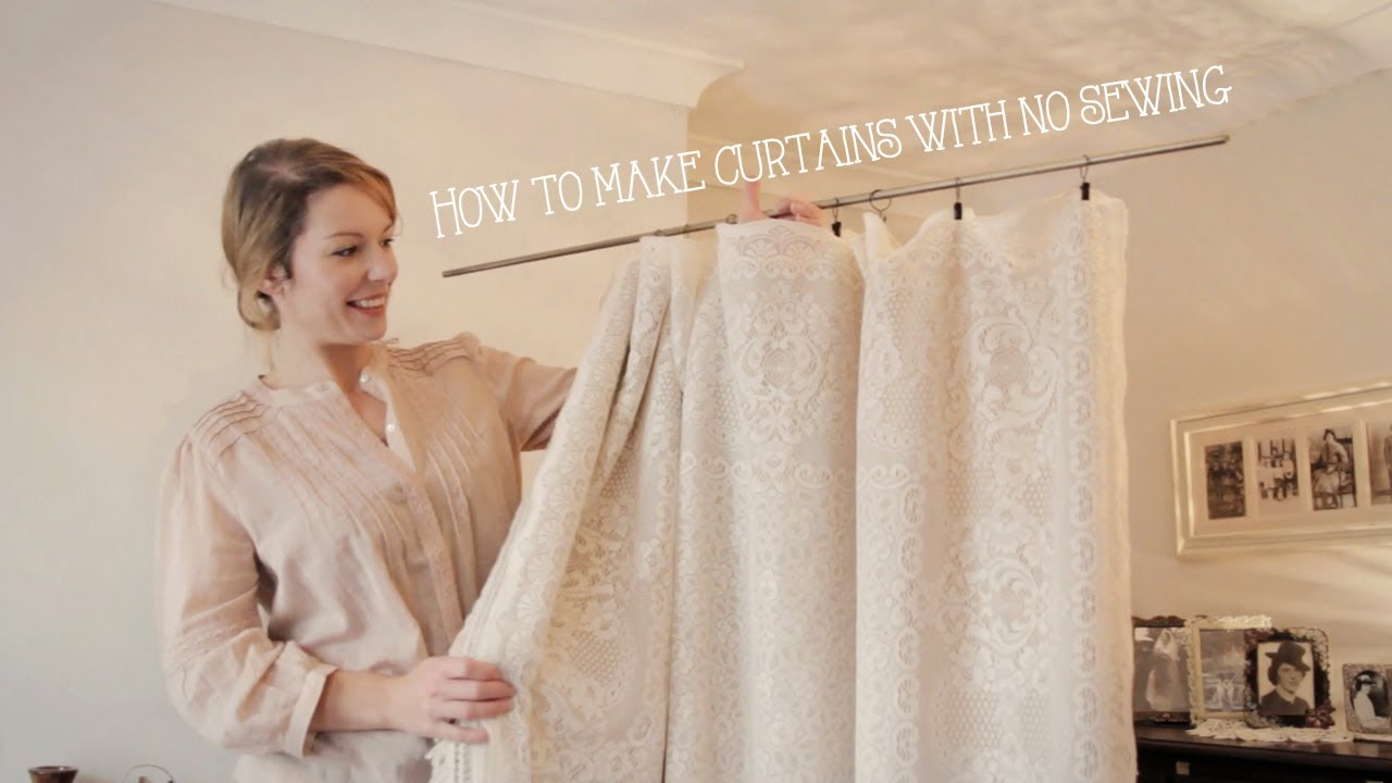 How to make curtains without sewing in minutes youtube How to make a valance without sewing