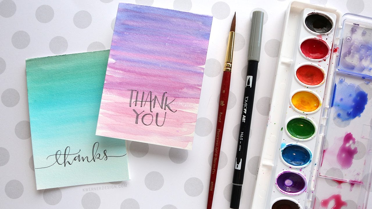 Easy Diy Thank You Cards Ombre Watercolor Youtube