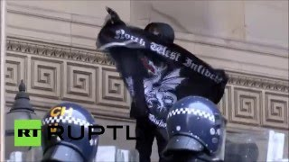 UK protesters clash with far-right neo-Nazi group outside Liverpool town hall