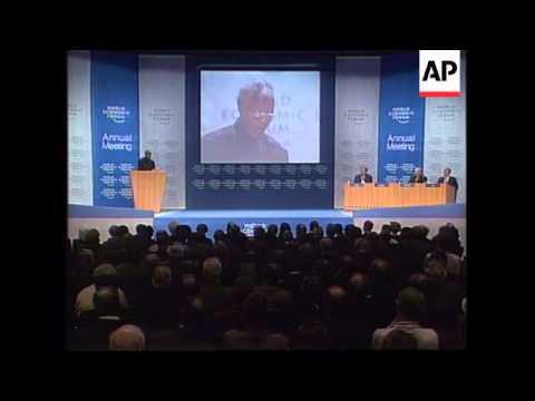 SWITZERLAND: DAVOS: WORLD ECONOMIC FORUM: NELSON MANDELA SPEECH