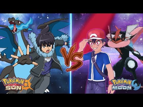 Pokemon Sun and Moon: Alain Vs Dark Ash (Mega Charizard X Vs Greninja Dark)