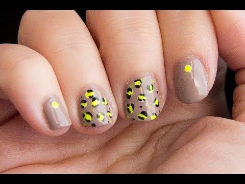 Diseño para uñas cortas: animal print nude neon / short nails desing: nude neo