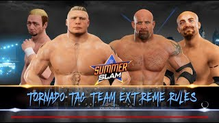 Brock Lesnar & James Ellsworth  vs.Goldberg & Gillberg -Tornado Tag Team match-Summerslam- WWE 2K17