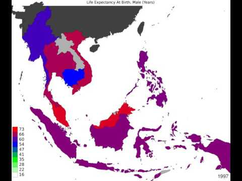 South East Asia - Life Expectancy At Birth, Male - Timelapse