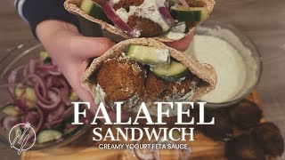 Easy Falafel Sandwich   Creamy Yogurt Feta Sauce