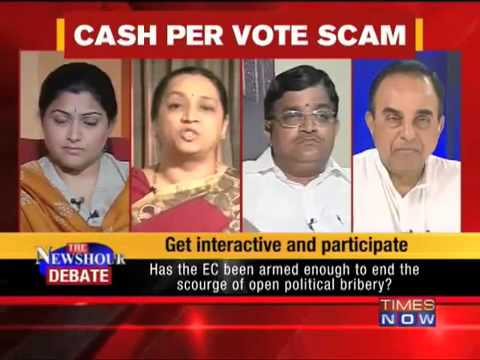 Dr Subramanian Swamy in the Newshour debate   Liquor, cash and coupons