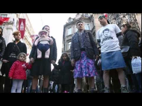 Turkish men wear skirts in protest for victimized women