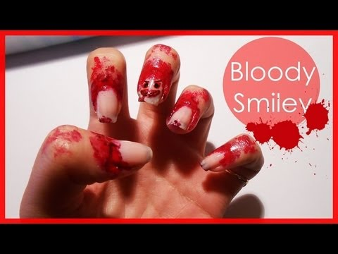 Halloween's Bloody Smiley ● Nail Art