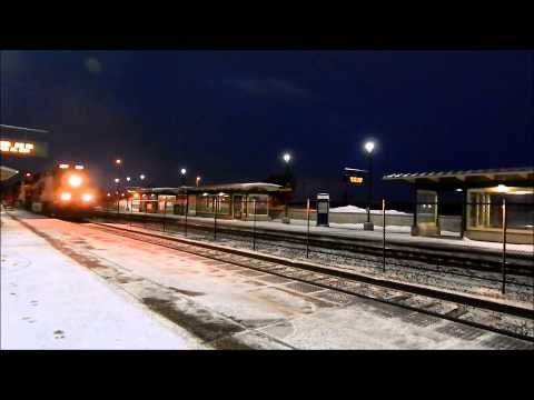 Two BNSF trains at Elk River, MN