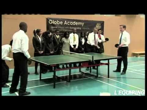 Barack Obama Playing Ping Pong with David Cameron