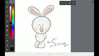 Drawing with MediBang on Samsung Galaxy Tab S4 - How To Draw Rabbit in Tablet -