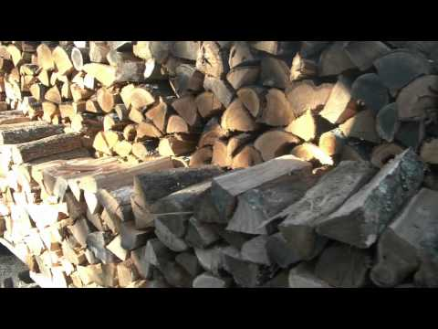 My homemade hydraulic log splitter. working at the woodpile!