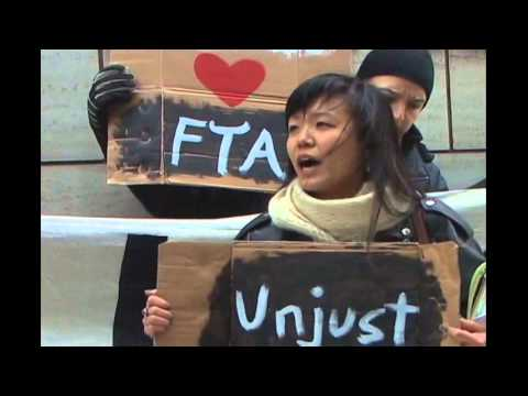 NYC Korean Consulate Protest on Day of KORUS FTA Vote in S. Korea (11/22/11)