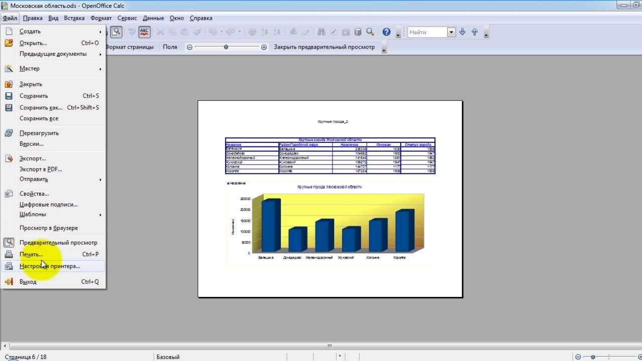 Как сделать диаграмму в опен офисе writer