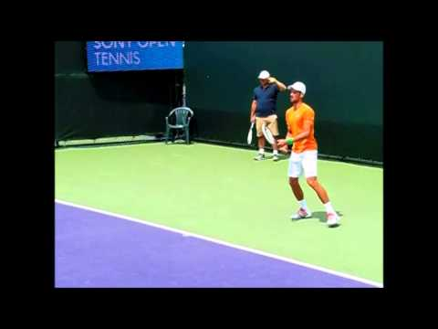 novak djokovic forehands/backhands slow motion sony open 2014