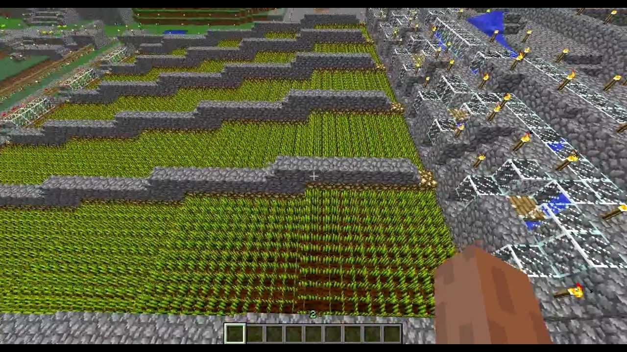 Minecraft Wheat Farm Auto Harvest - YouTube