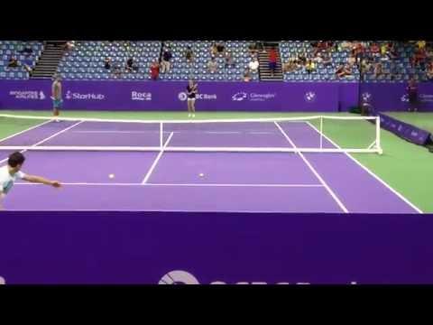 Aga Radwanska's practice--18 Oct 2014