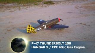 Hangar 9 P-47 Thunderbolt 150 with FPE 40cc Gas Engine Fun Flight 9-17-2011