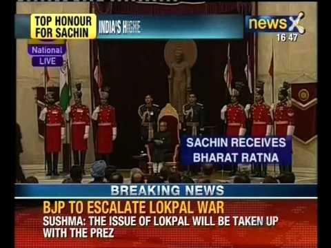 Sachin Tendulkar and Prof CNR Rao receive Bharat Ratna
