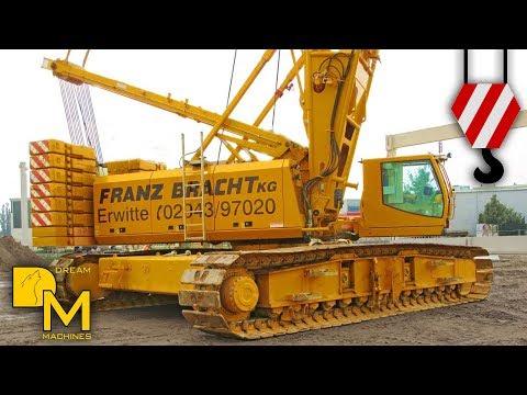 BIG CRAWLER CRANE LIFTING CONCRETE BEAMS ++ GIANT MACHINE MUST SEE!