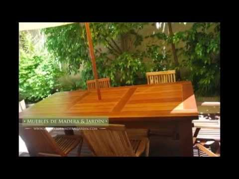 Mesas para patio muebles de madera y jard n com youtube for Muebles de jardin de madera
