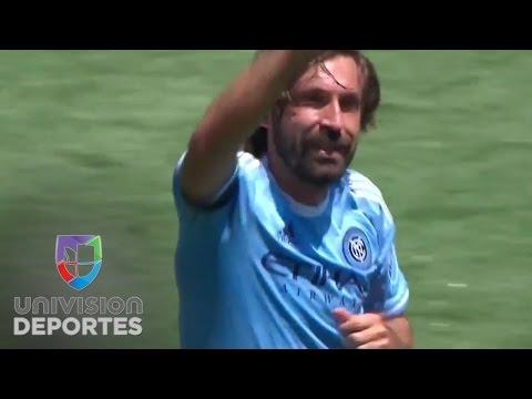 Andrea Pirlo anota su primer gol en la MLS para New York City FC, obviamente de tiro libre
