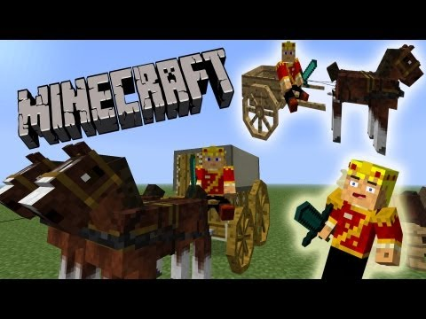 MineCraft Horse Wagons. Carriages. Race Horses!