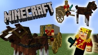 MineCraft Horse Wagons, Carriages, Race Horses!