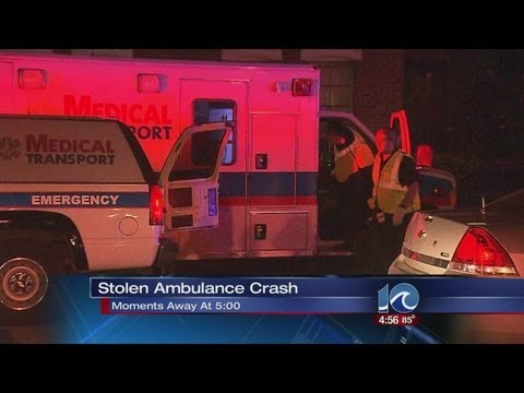 Intoxicated driver steals ambulance and crashes into cars