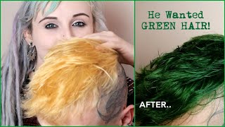 Dyeing My Boyfriends Hair GREEN - HAIR TRANSFORMATION