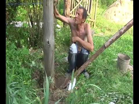 Как легко достать столб из земли!.avi