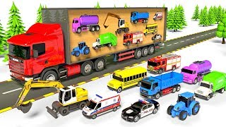 Colors for Children to Learn with Street Vehicles. Transporter Truck, Fire Truck, Excavator