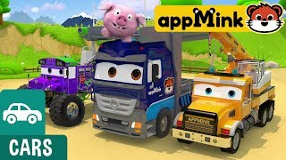 #appMink make a toy carrier truck with crane truck school bus and hot air balloon
