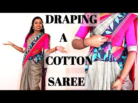 How To Drape a Cotton Saree | Easy Step by Step Tutorial | Thuri Makeup