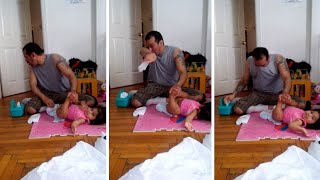 Dad Gags While Changing Daughter's Explosive Nappy