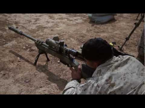 USMC Scout Snipers zero their M110 M40A5 rifles, Afghanistan