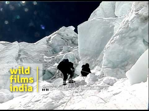 Climbers fixing ice pitons during Mount Everest expedition