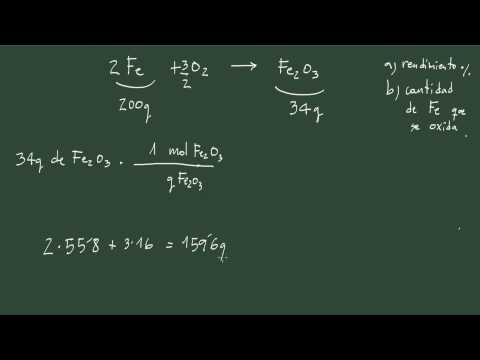 6. Ejercicio 6 estequiometría: cálculo del rendimiento de una reacción.