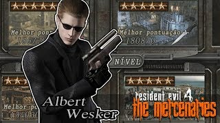 RESIDENT EVIL 4: 100% - THE MERCENARIES - WESKER TODOS MAPAS! - RECORDES!