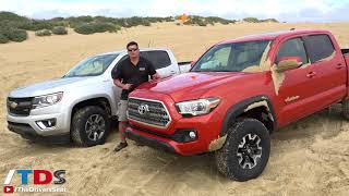 Toyota Tacoma TRD Off-Road vs Chevy Colorado Z71 - sand and rock crawl test