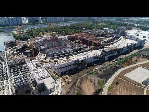 4K drone - Нагатинская пойма (Остров мечты): динамика строительства