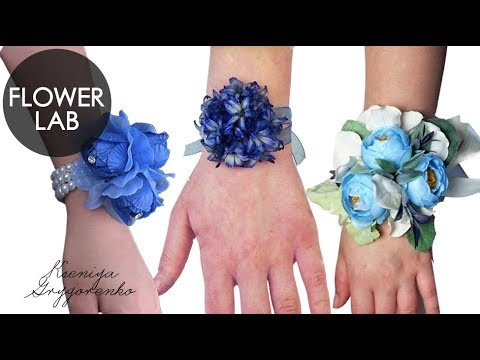 DIY Wedding Wrist Corsage How to make fresh flowers bracelet How to make a blue bride corsage
