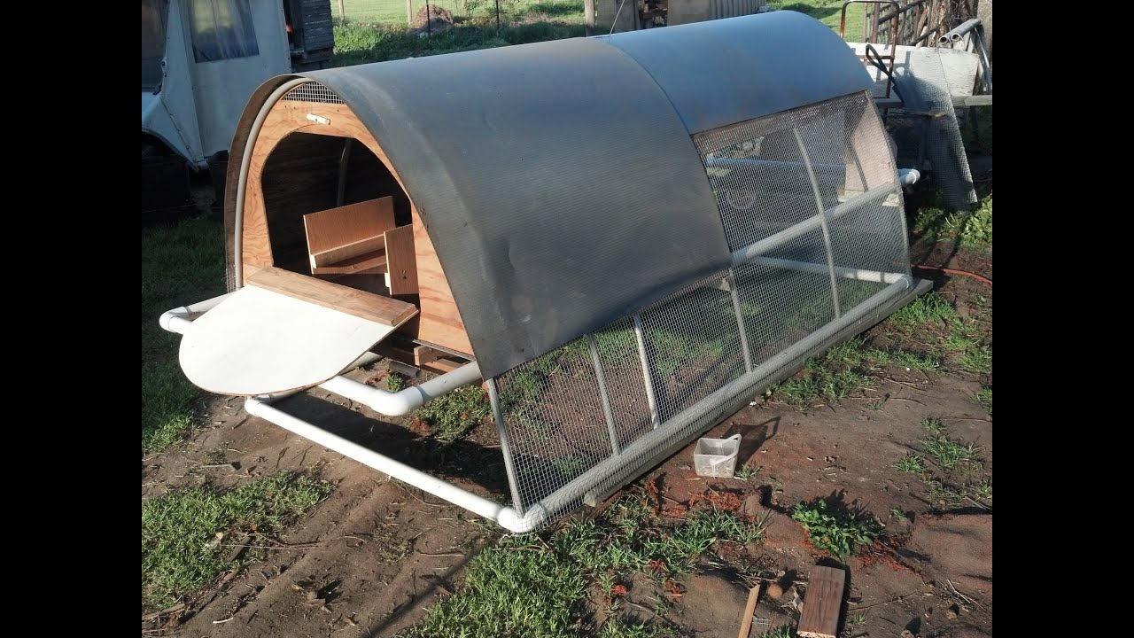 Making a chicken tractor introduction youtube for Pvc chicken house