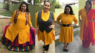How to Style Kurti in 4 Different ways   Plus-Size Fashion  Ethnic LOOKBOOK  INDO WESTERN 