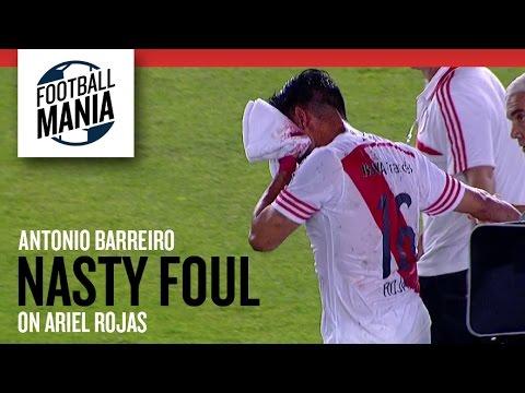 Antonio Barreiro (Libertad/PAR) Nasty Foul on Ariel Rojas (River Plate/ARG)