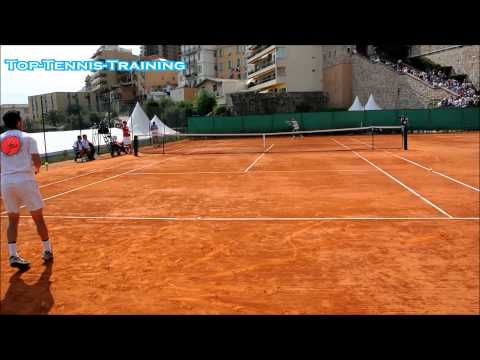 Roger Federer Training 2014-COURT LEVEL VIEW